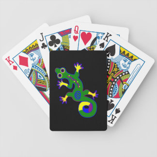 Tribal Gecko With Black Background Bicycle Playing Cards