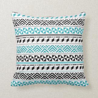 Tribal Geometric Black and Aqua Modern Aztec Throw Pillow