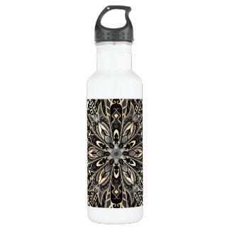 Tribal Geometric Black and brown Mandala Water Bottle
