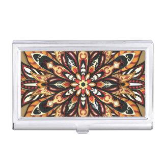 Tribal Geometric Brown and Black Mandala Business Card Case