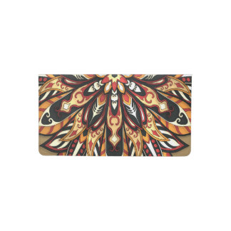 Tribal Geometric Brown and Black Mandala Checkbook Cover