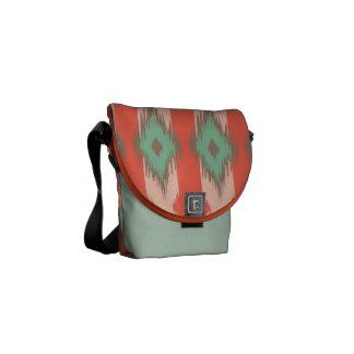 Tribal geometric diamond ikat stripe Aztec pattern Courier Bag