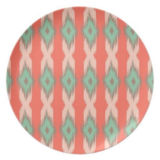 Tribal geometric diamond stripes Aztec pattern Party Plates