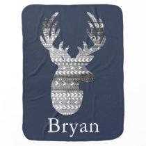 Tribal Geometric & Gray Barn Wood Deer Baby's Name Stroller Blanket
