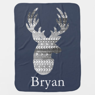Tribal Geometric & Gray Barn Wood Deer Baby's Name Stroller Blanket