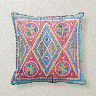 Tribal Geometric Pattern Arabian Wooden Door Throw Pillow