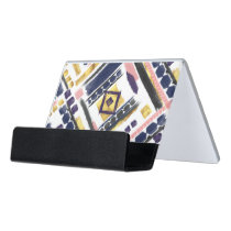 Tribal gold paint geometric brush strokes desk business card holder