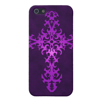 Tribal Gothic Cross - purple iPhone SE/5/5s Case