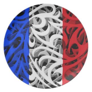 Tribal Graffiti Flag of France Plate