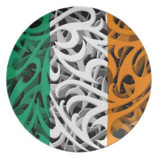 Tribal Graffiti Flag of Ireland Party Plate
