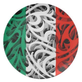 Tribal Graffiti Flag of Italy Plate