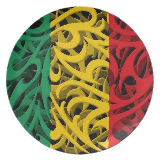 Tribal Graffiti Flag of Mali Dinner Plates