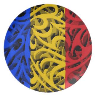 Tribal Graffiti Flag of Romania Party Plates
