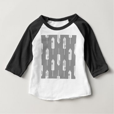 Aztec Themed Tribal gray feathers baby T-Shirt