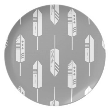Aztec Themed Tribal gray feathers dinner plate