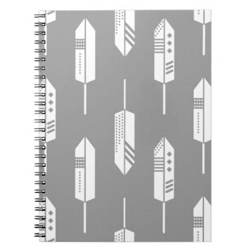 Aztec Themed Tribal gray feathers notebook