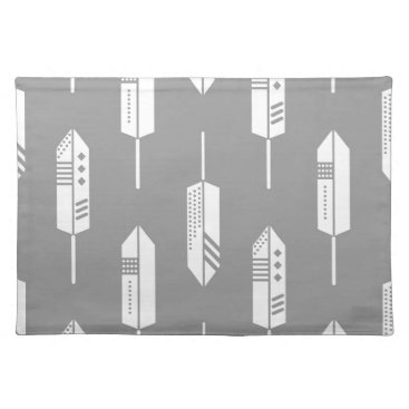 Aztec Themed Tribal gray feathers placemat