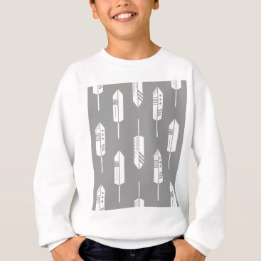 Aztec Themed Tribal gray feathers sweatshirt