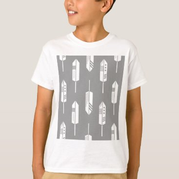 Aztec Themed Tribal gray feathers T-Shirt