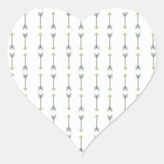 Tribal Green Arrows Heart Sticker