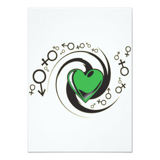 Tribal Green Heart and Symbols Card