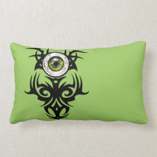tribal, green marble eye lumbar pillow