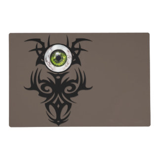 tribal, green marble eye placemat