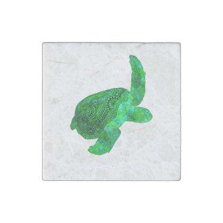 Tribal Green Sea Turtle Stone Magnet