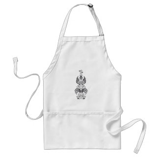 Tribal guitar Black and White Design Adult Apron