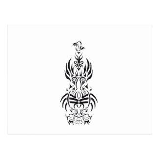 Tribal guitar Black and White Design Postcard