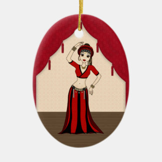 Tribal Gypsy Bellydancer in Red and Black Costume Ceramic Ornament