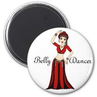 Tribal Gypsy Bellydancer in Red and Black Costume Refrigerator Magnets