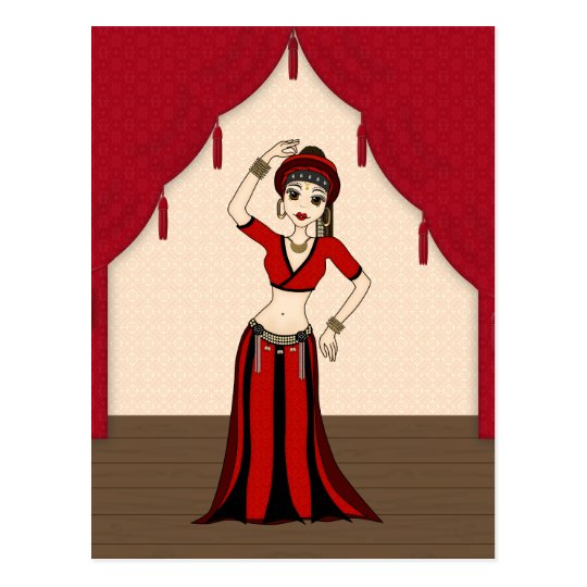Tribal Gypsy Bellydancer in Red and Black Costume Postcard