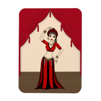 Tribal Gypsy Bellydancer in Red and Black Costume Rectangular Magnets