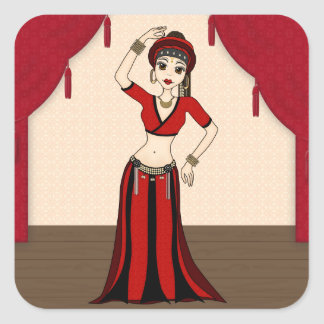 Tribal Gypsy Bellydancer in Red and Black Costume Square Stickers