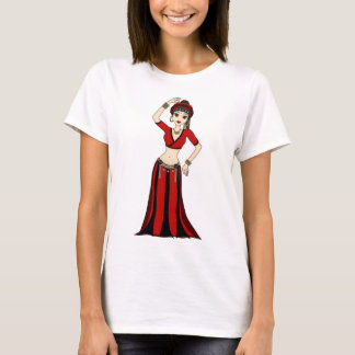 Tribal Gypsy Bellydancer in Red and Black Costume T-Shirt