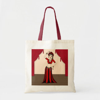 Tribal Gypsy Bellydancer in Red and Black Costume Tote Bag