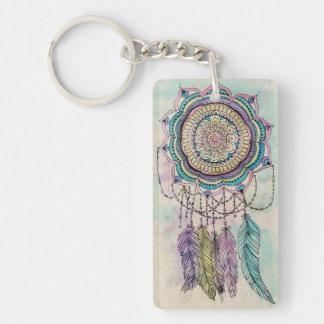 tribal hand paint dreamcatcher mandala design keychain