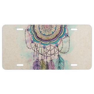 tribal hand paint dreamcatcher mandala design license plate