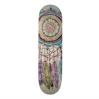 tribal hand paint dreamcatcher mandala design skateboard