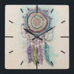 "tribal hand paint dreamcatcher mandala design square wall clock<br><div class=""desc"">Modern tribal hand paint dreamcatcher mandala design, elegant hand drawn flower, feathers, henna, mehndi floral, geometric, circle of flowers, shapes, lines, stripes, triangles, dots, art, paint, splatters, grunge, artwork, messy, craft, gold yellow, purple, blue, teal, hot pink, grey, black, white vibrant colors, unique, Aztec, traditional , cool, awesome, pretty, cute,...</div>"