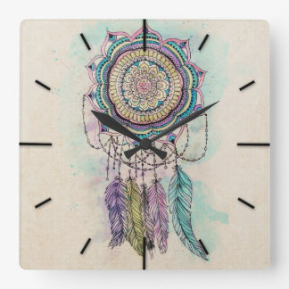 tribal hand paint dreamcatcher mandala design square wall clock