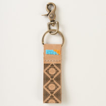 Tribal, Happiness, Native American Zia Keychain