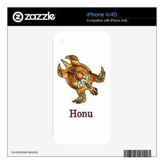Tribal Hawaiian Golden Sea Turtle on White Skins For The iPhone 4