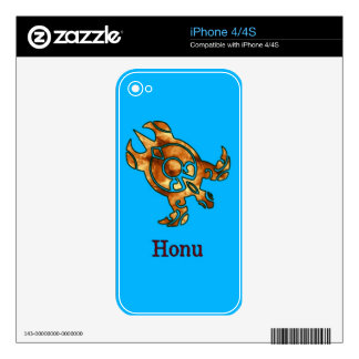 Tribal Hawaiian Golden Seaturtle on Ocean Blue iPhone 4S Skins