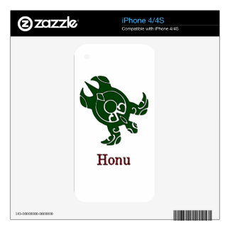 Tribal Hawaiian Green Sea Turtle on White Decals For The iPhone 4
