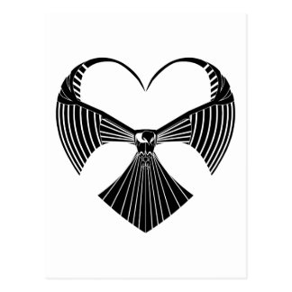 Tribal Hawk Valentine Valentines Day Heart Postcar Postcard