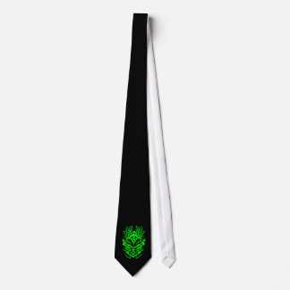 Tribal head green neck tie