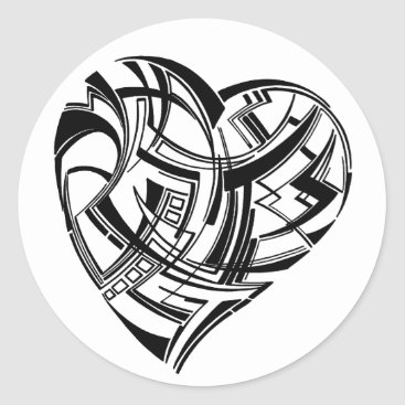 Aztec Themed Tribal Heart Classic Round Sticker
