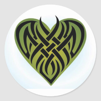 Tribal Heart Classic Round Sticker